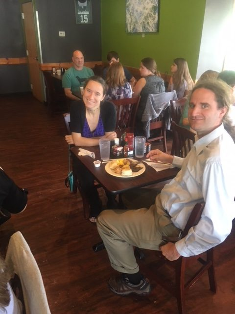 Commencement ceremony and brunch, May 2018: Happily surprised to see MAPP alumna Theresa Vinic who is attending the Commencement ceremony with David.