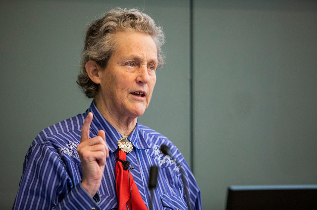 Temple Grandin speaking in lecture hall