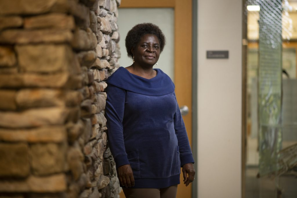 Hellen Amuguni, Associate Professor of Infectious Disease and Global Health at the Cummings School of Veterinary Medicine at Tufts University, poses for a portrait