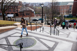 Students walk up and down the Memorial Steps on the first day of classes of the spring semester on January 19, 2017