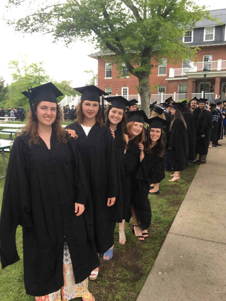 Commencement ceremony and brunch, May 2018: MAPP students are lined up and ready to walk! They are at the head of the line, which trails all the way back and then left.