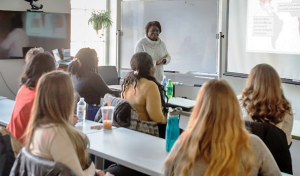 Dr. Amuguni teaches one of her graduate level classes at Cummings School.