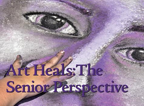 face drawn on the sidewalk with Black and Purple chalk for the Art Heals: a Senior Perspective event for the Blackstone Valley Technical School Seniors