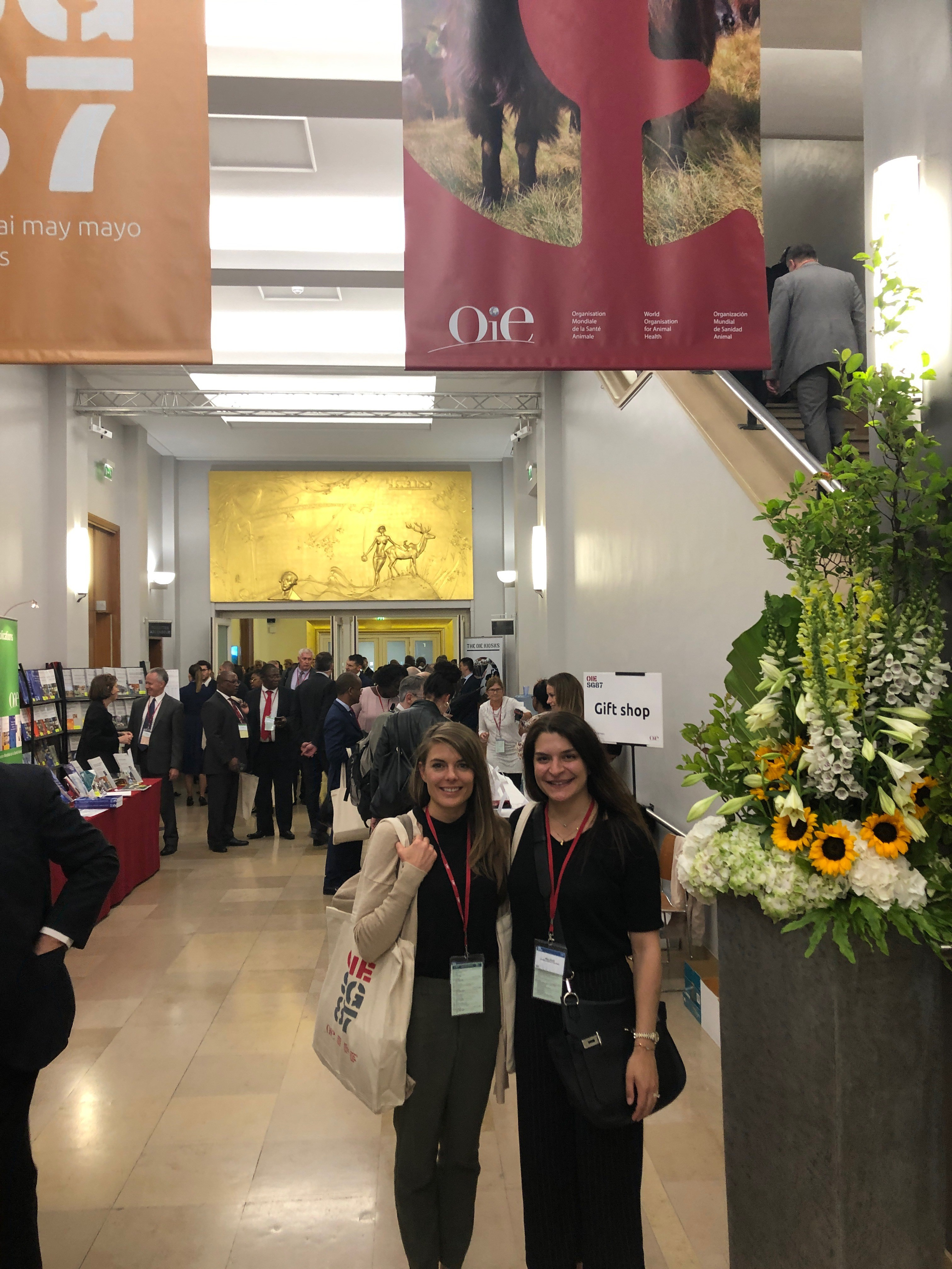 Maha Bazzi, MAPP candidate 2019 (on right) with Jessica Bridgers, MAPP alumna 2014 at OIE Conference in Paris, France