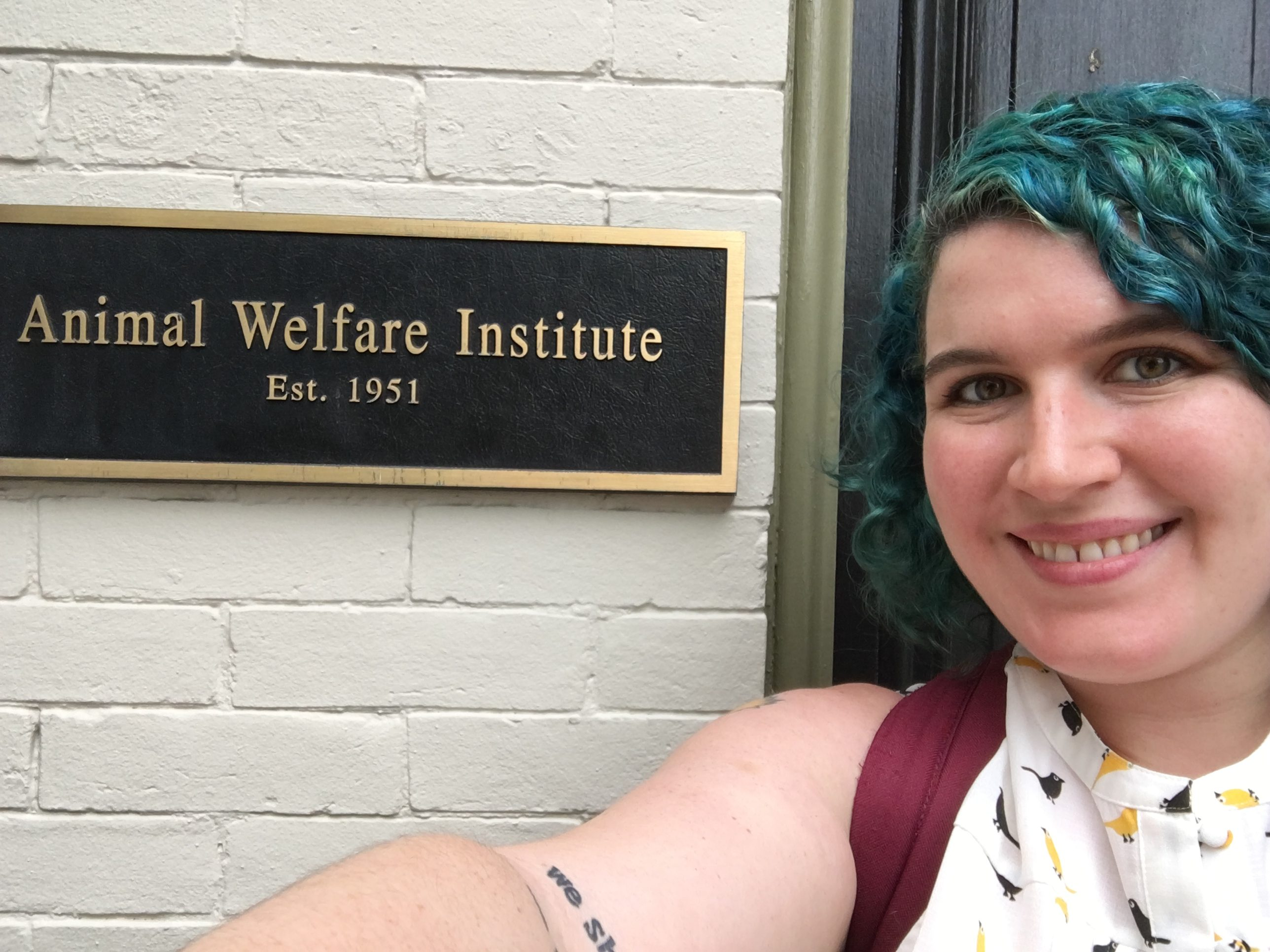 Chelea Blink on the first day of her externship at the Animal Welfare Institute in Washington, D.C.