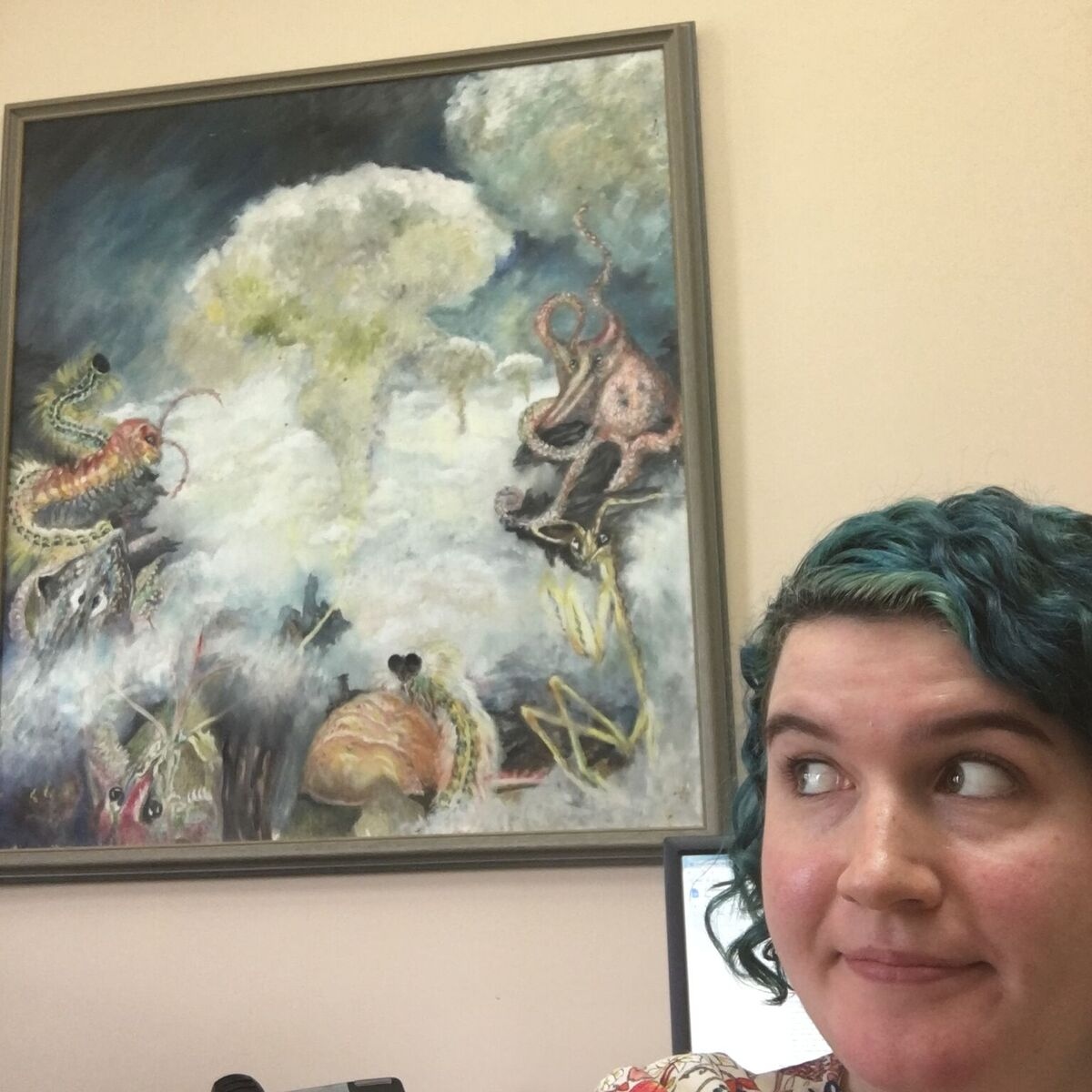 The office that Chelsea Blink worked in is decorated with paintings by AWIs founder Christine Stevens.
