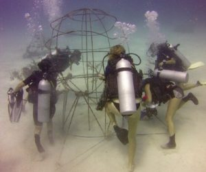 Cheyenne Carey and the team working on the artificial reef structure