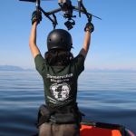 Catching the drone in the zodiac research vessel