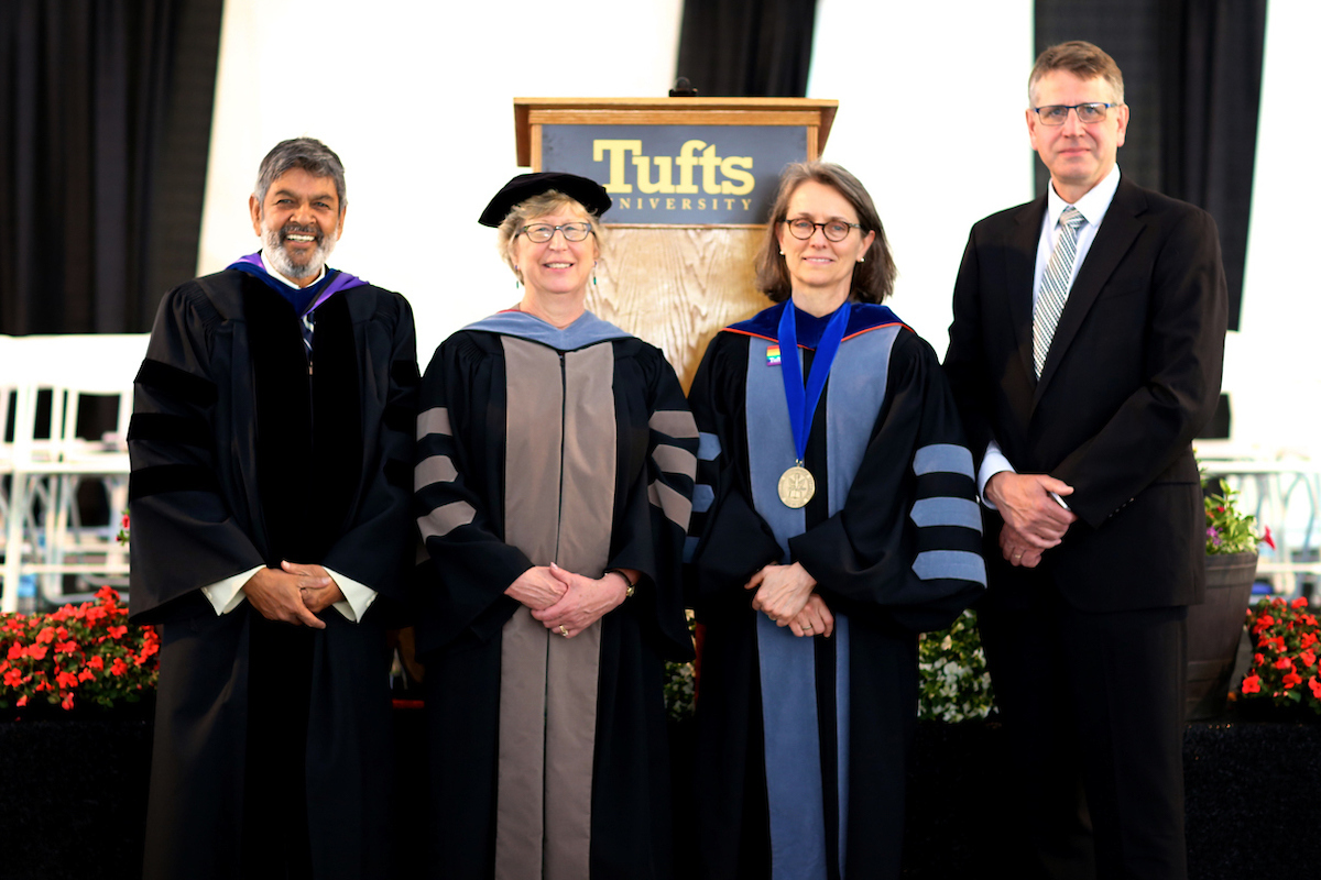Photo of Sawkat Anwer, Joyce Knoll, Deborah Kochevar, Alastair Cribb at Cummings School of Veterinary Medicine Commencement 2019 Tufts University's Cummings School of Veterinary Medicine's 37th commencement ceremony, Class of 2019