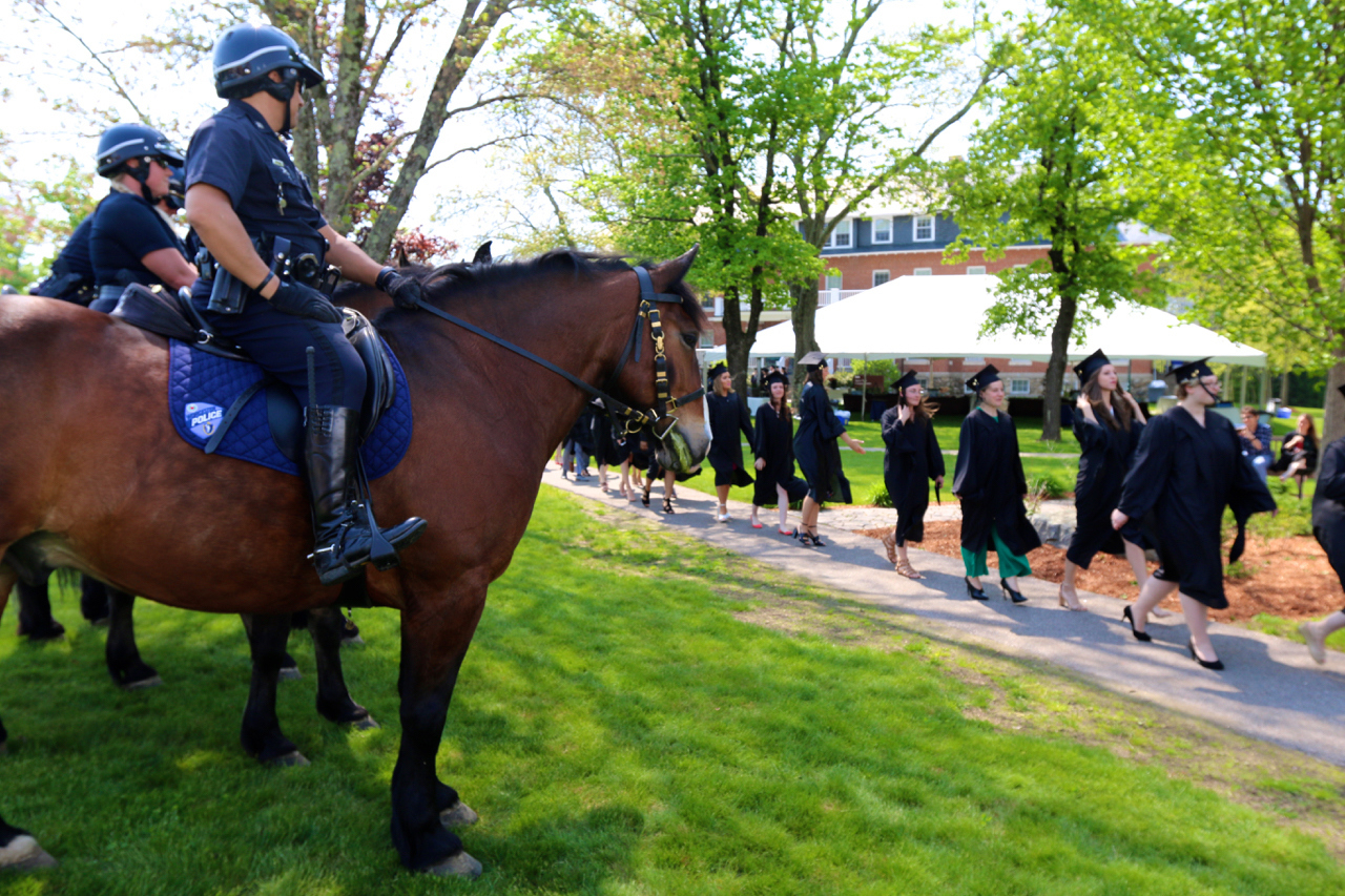 Worcester Police Department's Mounted Patrol Unit at Tufts University's Cummings School of Veterinary Medicine's 37th commencement ceremony for the class of 2019