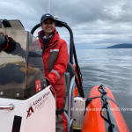 Driving the zodiac research vessel, scanning the waters for humpback whales