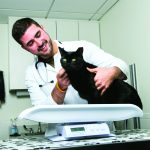 Harris Fitzgerald, AVM student, with black cat on scale