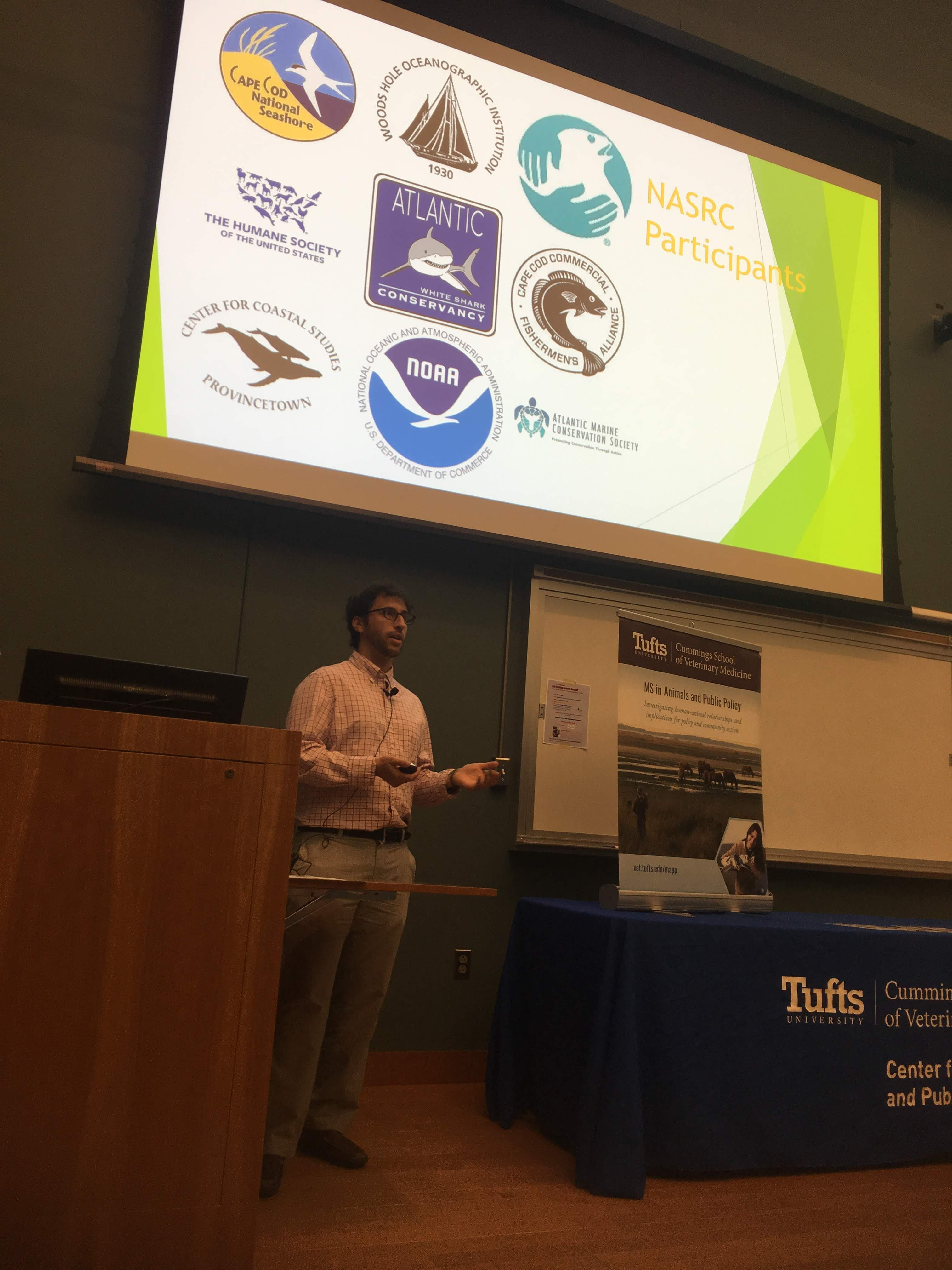 Nathan Alexander presenting at the MS in Animals and Public Policy Student Externship and Research Poster Presentations