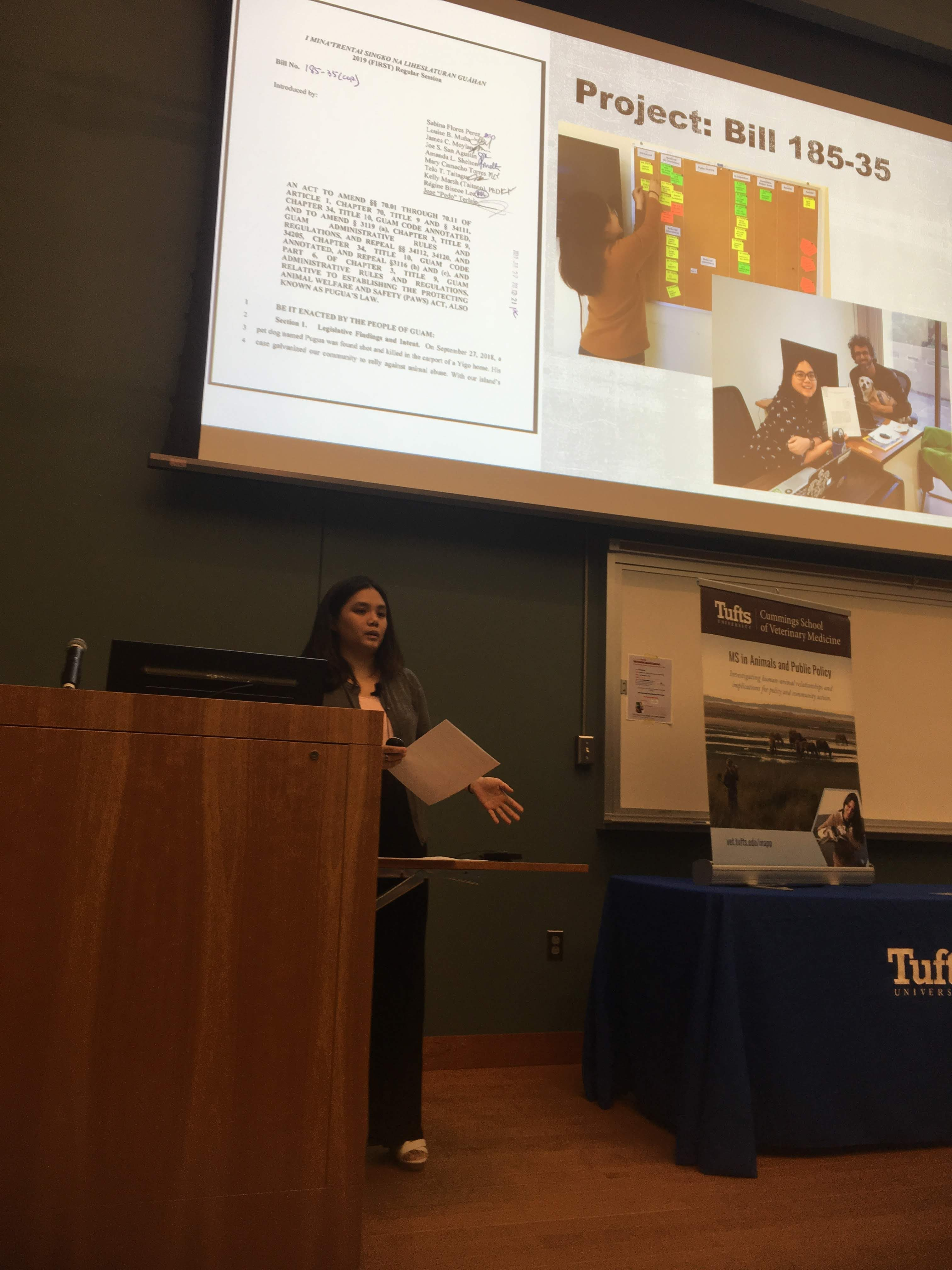 Esther Lam presenting at the MS in Animals and Public Policy Student Externship and Research Poster Presentations