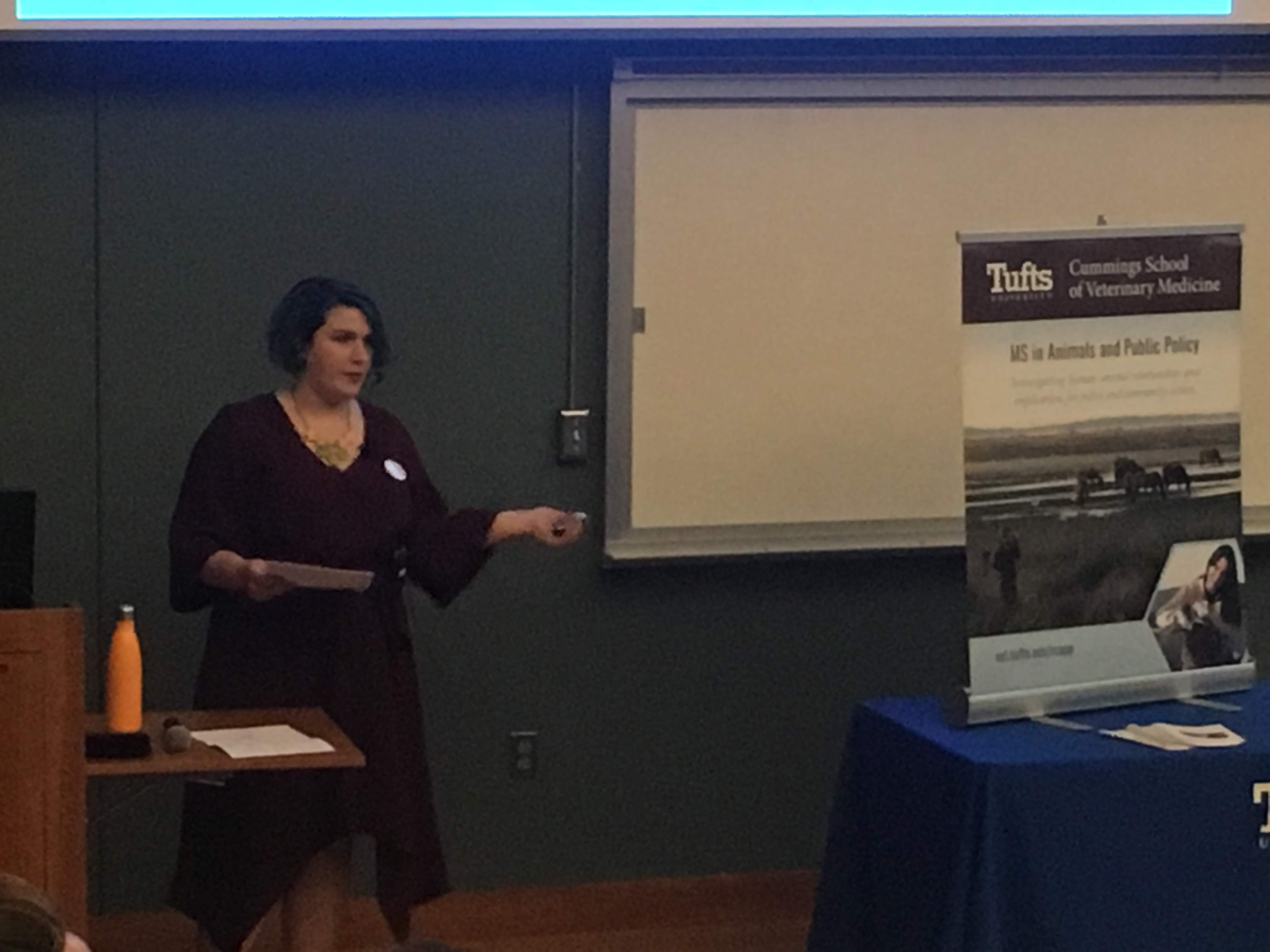 "Chelsea Blink presenting "" 	Inching Toward Liberation: Lobbying for Animals Under a Hostile Administration"" at the MS in Animals and Public Policy Student Externship and Research Poster Presentations on September 8, 2018"