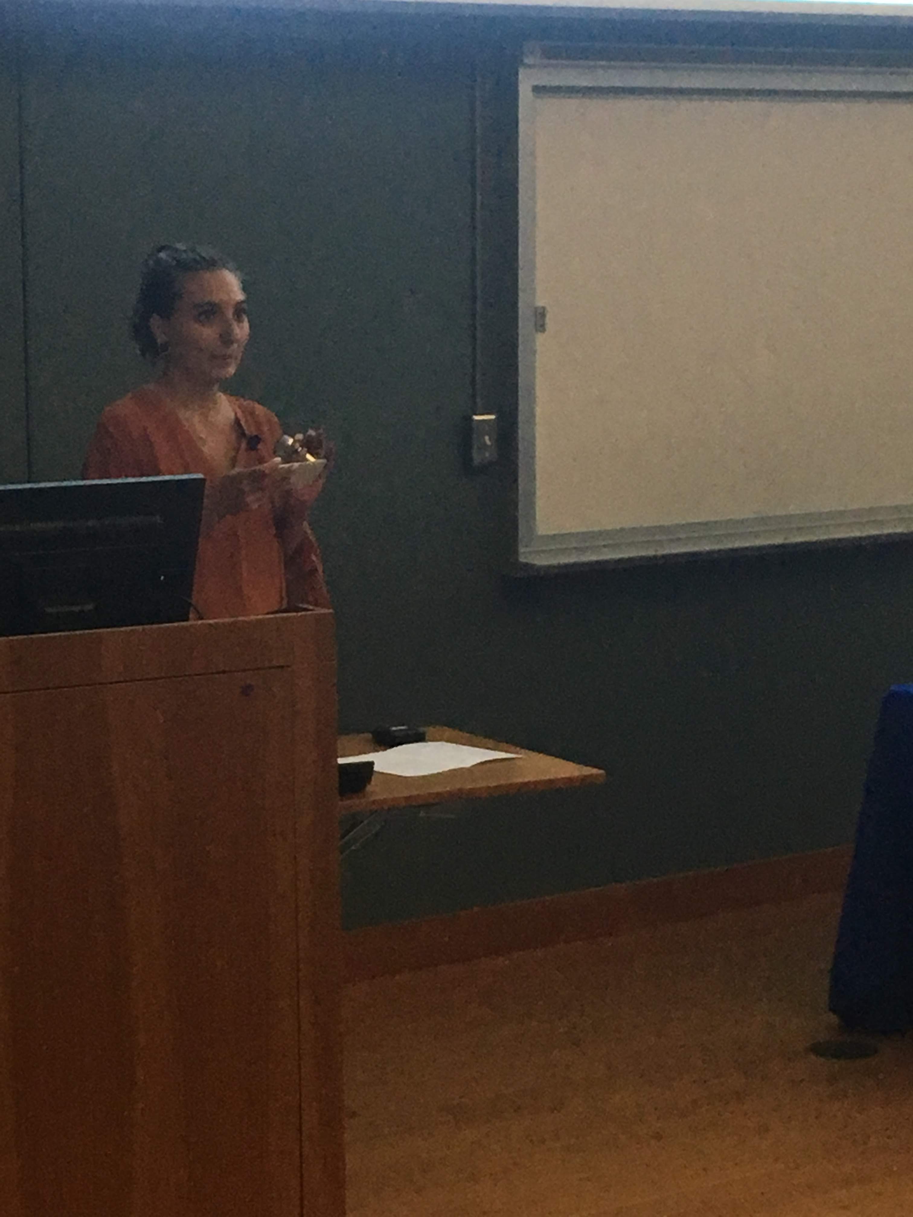 "Collen Parker presenting ""The Intersection of Communication and Compassion: My Summer Living the Farm Sanctuary Life"" at Cummings School of Veterinary Medicine's Master of Science in Animals and Public Policy Class of 2018 Presentations on Saturday, September 8, 2018"