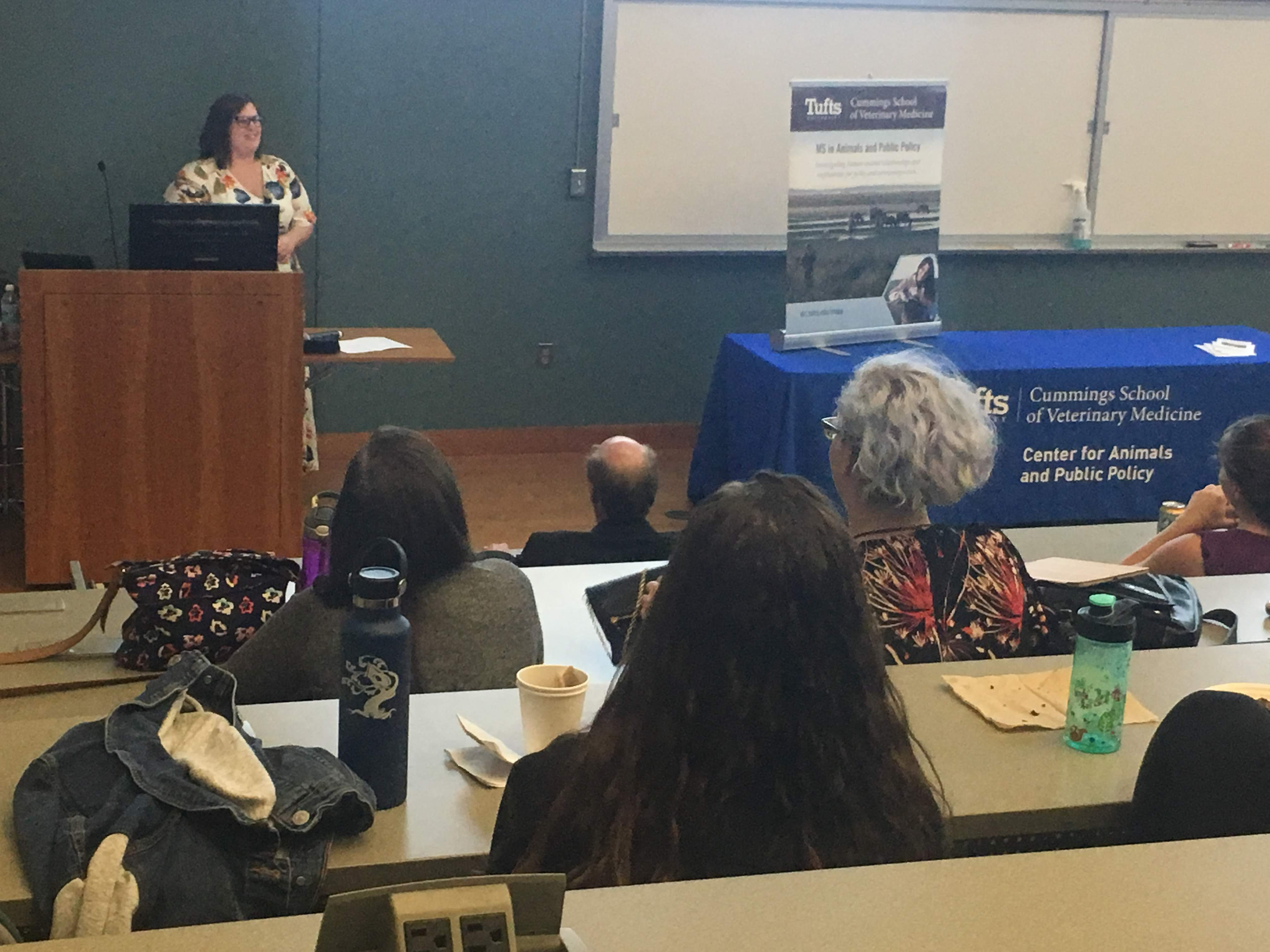 """Johanna Rahkonen presenting """"ASPCA Field Investigations and Response: A Hot Take on Volcanoes and Climate Change"""" at Cummings School of Veterinary Medicine's Master of Science in Animals and Public Policy Class of 2018 Presentations on Saturday, September 8, 2018"""