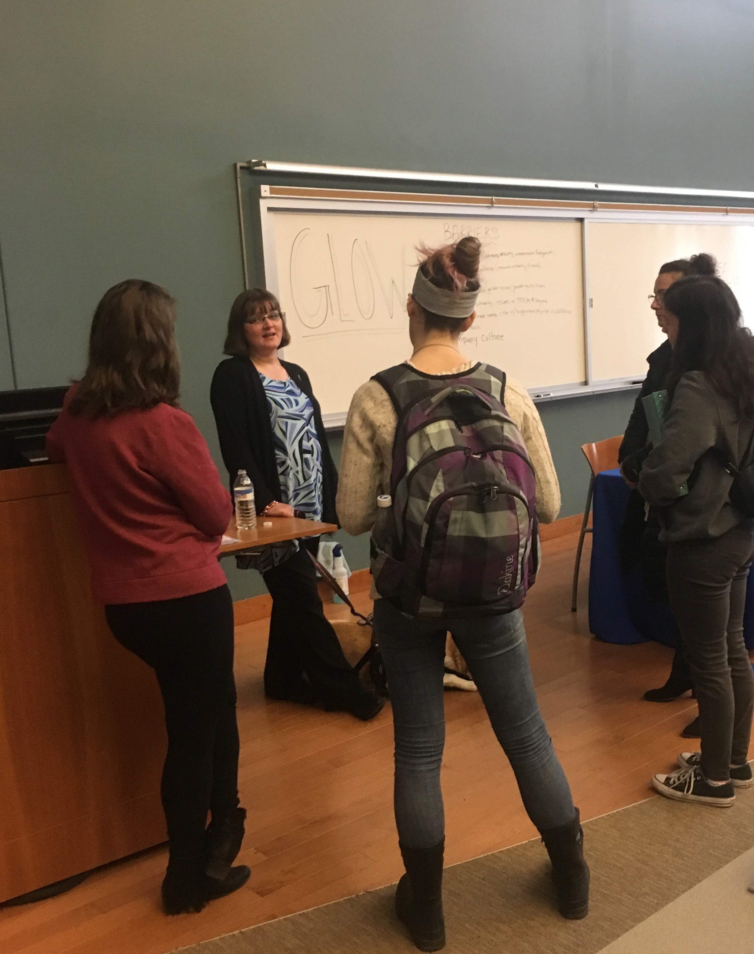 "Kristin Hartness talking with attendees after her presentation, ""Service Dogs 101: What You Need to Know About These Special Tools"""