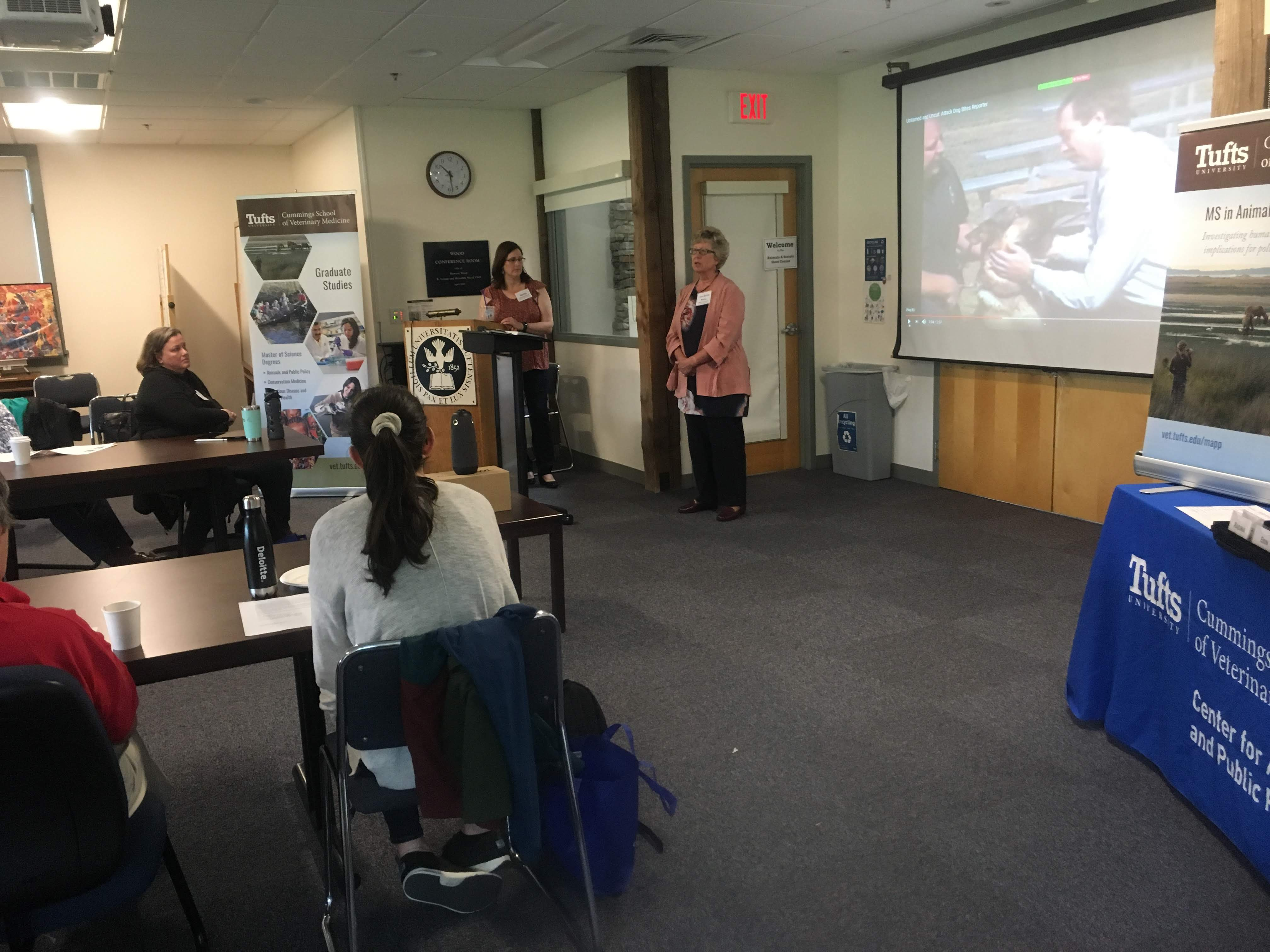 "Dean Joyce Knoll greeted the class, and Seana Dowling-Guyer presented ""What Your Pet is Trying to Tell You: Using Animal Behavior to Improve the Human Animal Bond"""""