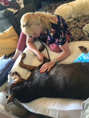 Lap of Love veterinarian Mary Gardner, DVM, gives her own 13-year-old dog, Duncan, his final good-bye in the comfort and privacy of home. She dropped everything and flew across the country to be back home with him in his final days.