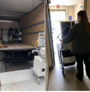ventilator being moved into a moving truck