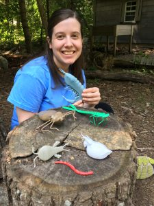 baldeck Jessica at camp with her freshwater macro invertebrate models