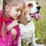 Girl hugs beagle