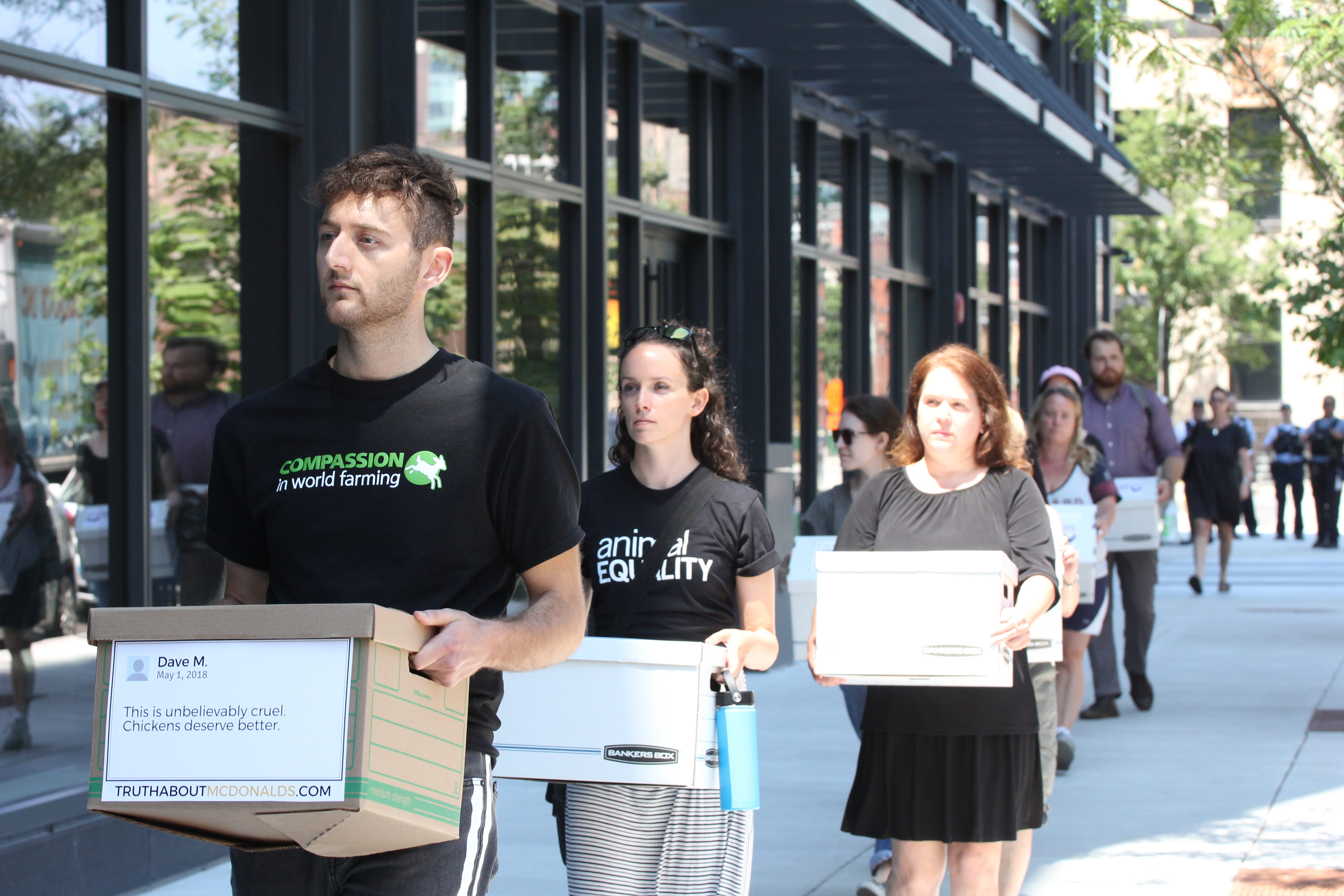 MAPP student, Tyler Hazard is with Compassion in World Farming, and a few other animal protection groups came together to hand-deliver more than 200,000 petition signatures asking McDonald's to do better for chickens.