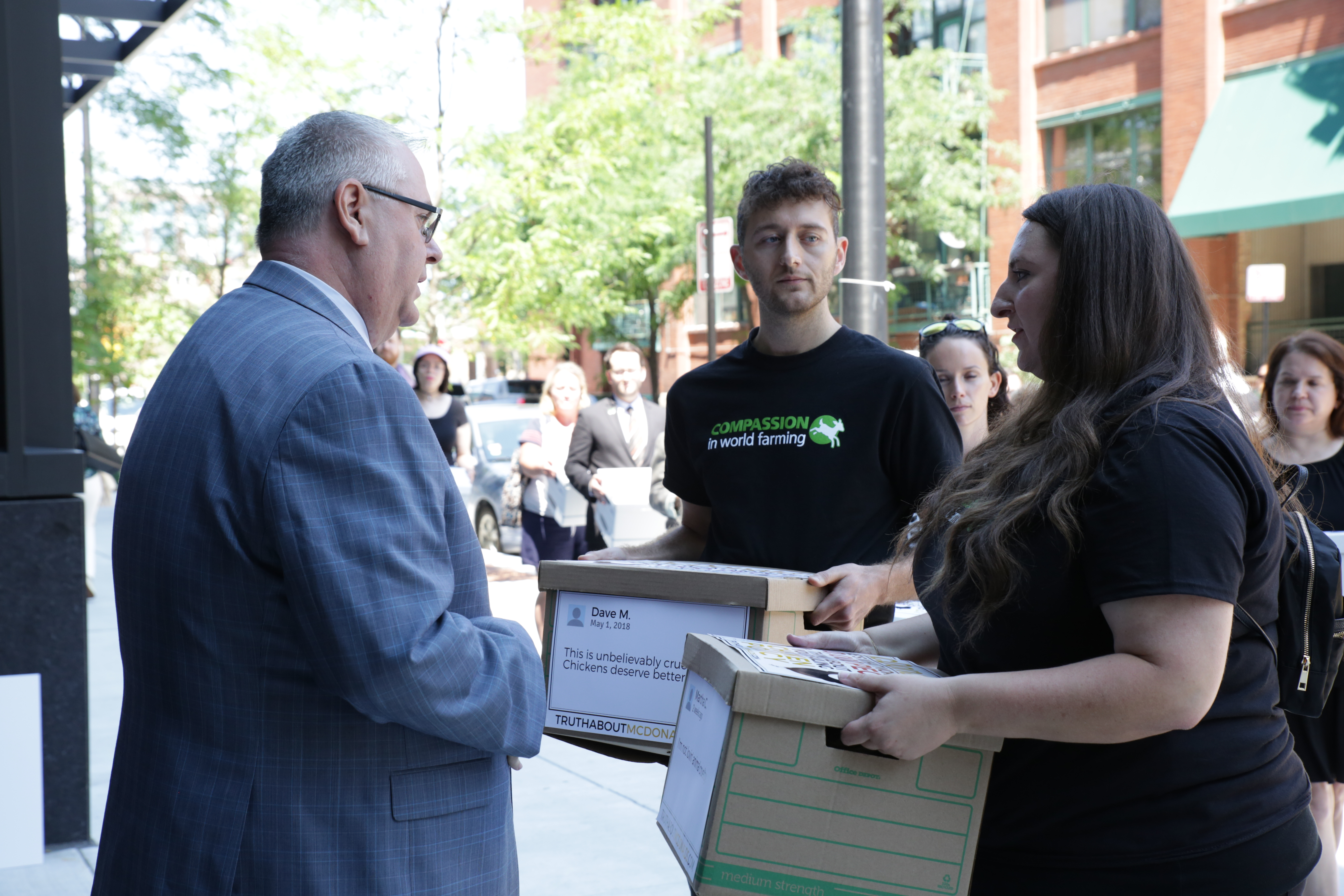 MAPP student,Tyler Hazard is with Compassion in World Farming, and a few other animal protection groups came together to hand-deliver more than 200,000 petition signatures asking McDonald's to do better for chickens.