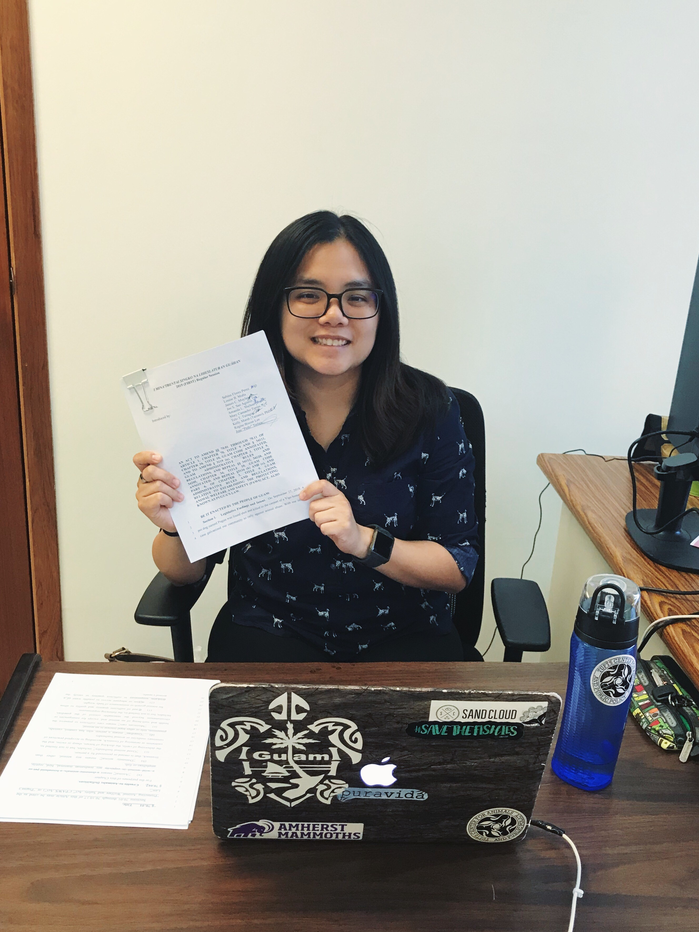 Esther Lam, MAPP class 2018-2019 externship in Guam. The day when I went circulating for signatures from cosponsoring senators in preparation for introduction of the bill